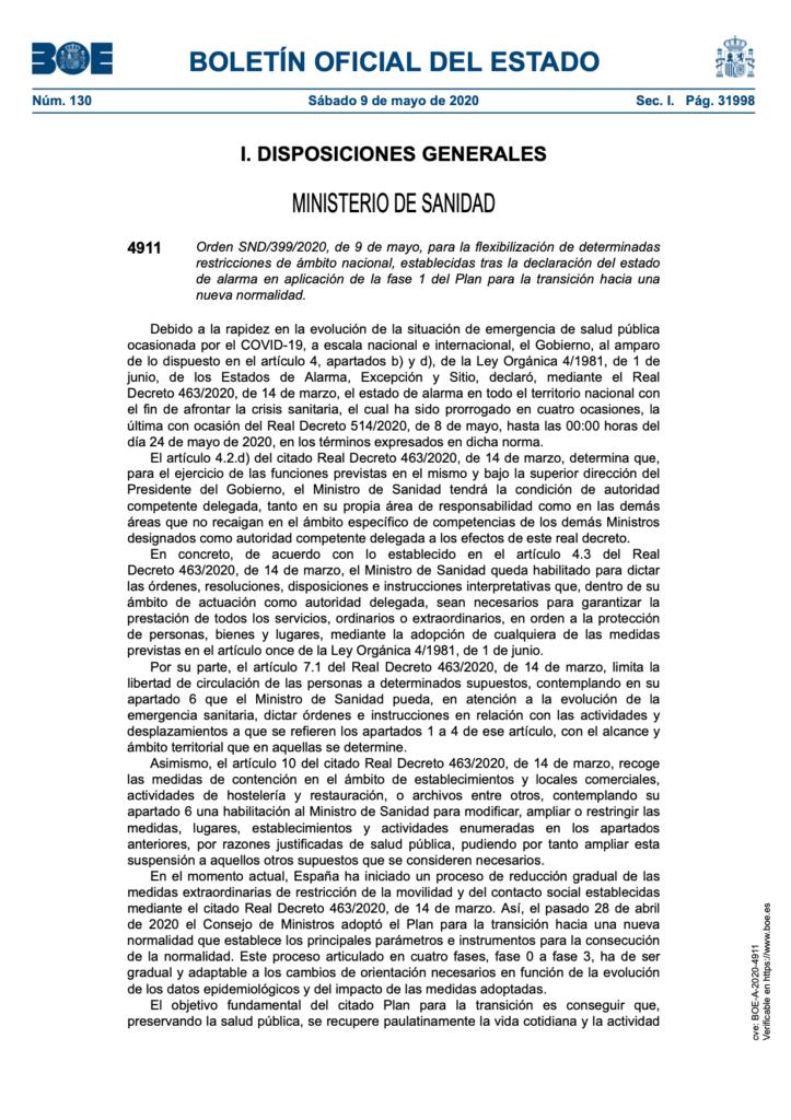 BOE 10 mayo. Fase 1 Condiciones para retomar rodajes (páginas 18 y 19)