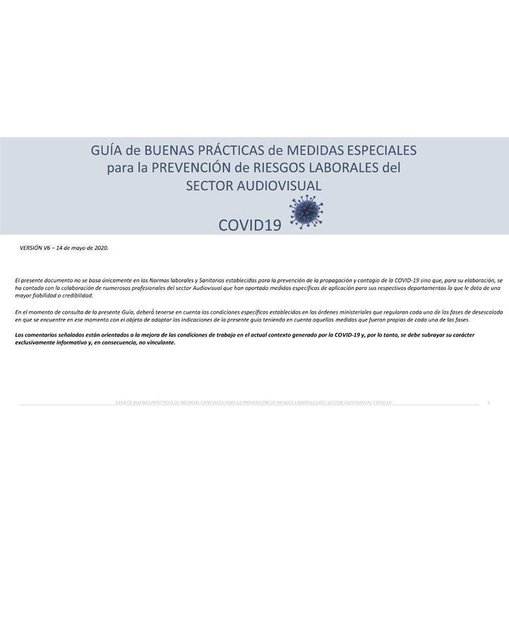 Guía de buenas prácticas de medidas especiales para la prevención de riesgos laborales del sector audiovisual