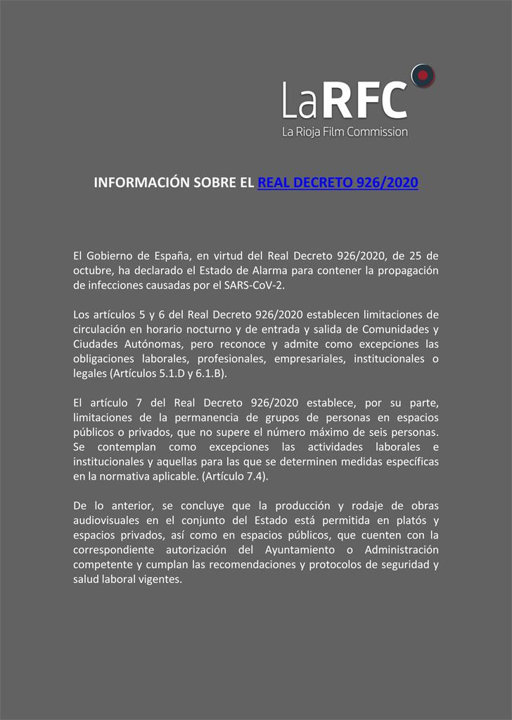 INFORMACIÓN SOBRE EL REAL DECRETO 926/2020